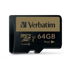 VERBATIM MicroSDXC karta 64GB PRO+ Class 10, UHS 1 (R:90/W:80 MB/s)