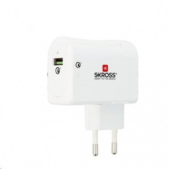 SKROSS USB nabíjací adaptér Quick charge 3.0 Euro, 3000mA, 1x USB výstup