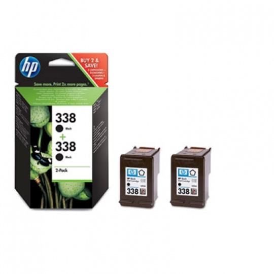 HP 338 Black Ink Cart 2-pack, 2 x 11 ml, CB331EE
