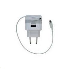 Solight USB nabíjecí adaptér, navíjecí kabel micro USB + 1x USB, 2400mA max., AC 230V, bílošedý
