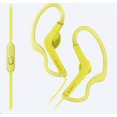 SONY sportovní stereo sluchátka MDRAS210AP, žlutá