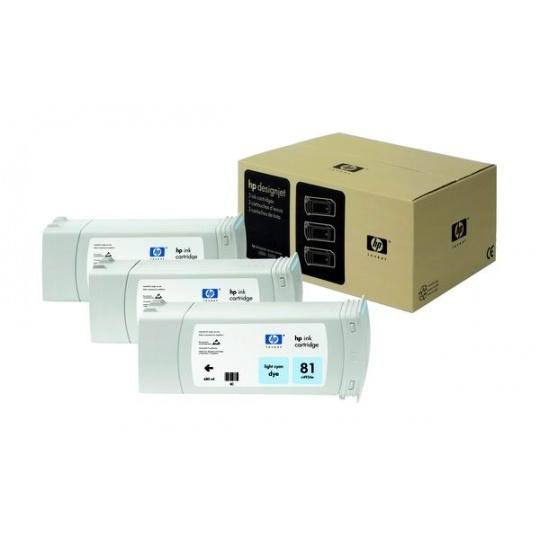 HP 81 Light Cyan DJ Ink Cart, 680 ml, 3-pack, C5070A