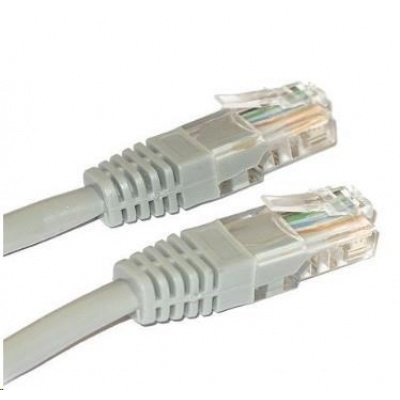 Patch kabel Cat5E, UTP, křížený - 10m, šedý