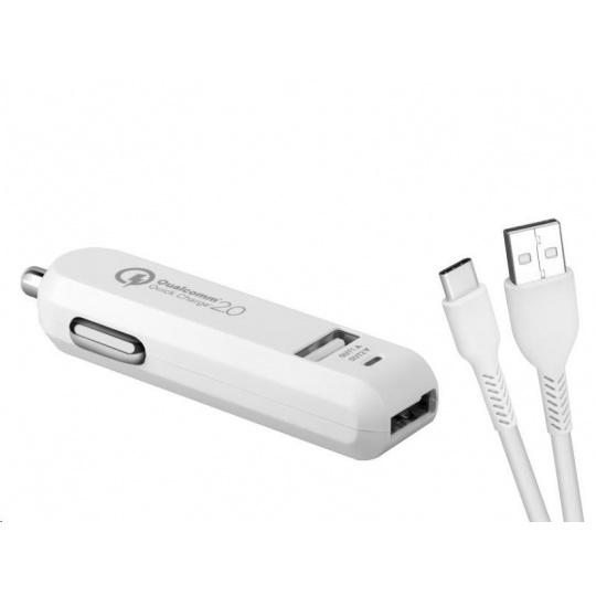 AVACOM CarMAX 2 nabíječka do auta 2x Qualcomm Quick Charge 2.0, bílá barva (USB-C kabel)