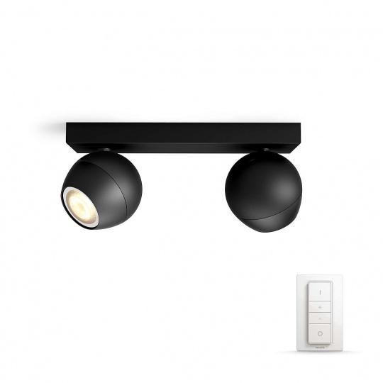PHILIPS BUCKRAM Bodové svítidlo, Hue White ambiance, 230V, 2x5.5W GU10, Černá