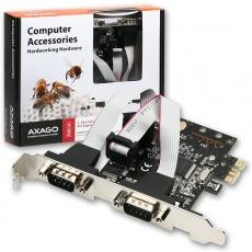 AXAGON PCEA-S2, PCIe adaptér - 2x sériový port (RS232), vč. LP