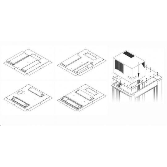 TRITON montážní redukce ke klimatizaci X1 a X2 na šířku rozvaděče 800 x 800 mm, černá