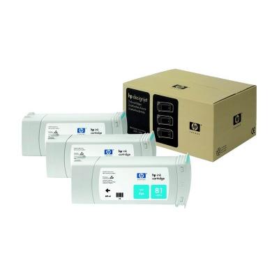 HP 81 Cyan DJ Ink Cart, 680 ml, 3-pack, C5067A
