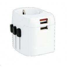 SKROSS cestovní adaptér SKROSS PRO Light USb, 6.3A max., vč. USB nabíjení, uzemněný, UK+USA+Austrálie/Čína