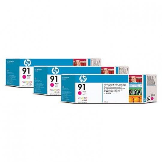 HP 91 Magenta DJ Ink Cart, 775 ml, 3-pack, C9484A