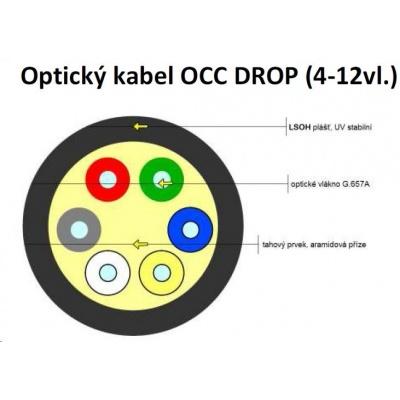 Optický kabel XtendLan DROP FTTx, 8x 9/125 SM, G.657A, LS0H, černý, cívka 1km