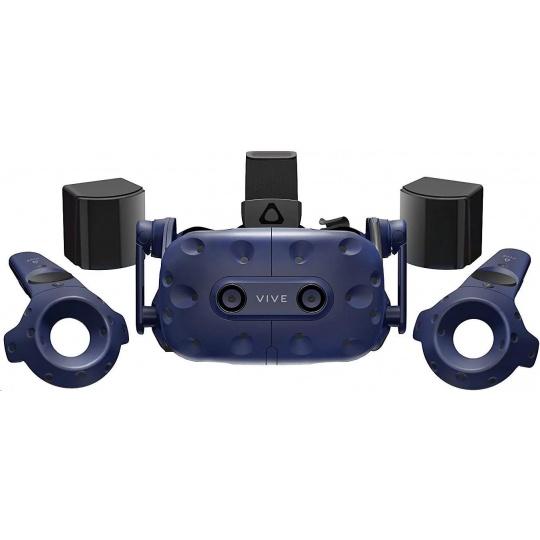 HTC Vive Pro Virtual Reality Headset (Kit), Blue (VR glasses, Motino Sensors, Controller, built-in audio)