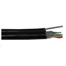 FTP kabel PlanetElite s nosným lankem, Cat5E, drát, venkovní PE+PVC, Fca, černý, 500m