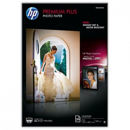 HP Premium Plus Glossy Photo Paper-20 sht/A3/297 x 420 mm, 300 g/m2, CR675A