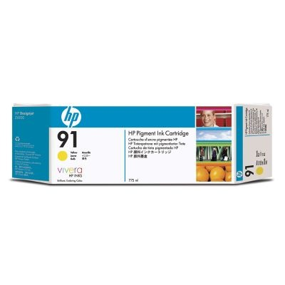 HP 91 Yellow DJ Ink Cart, 775 ml, 3-pack, C9485A