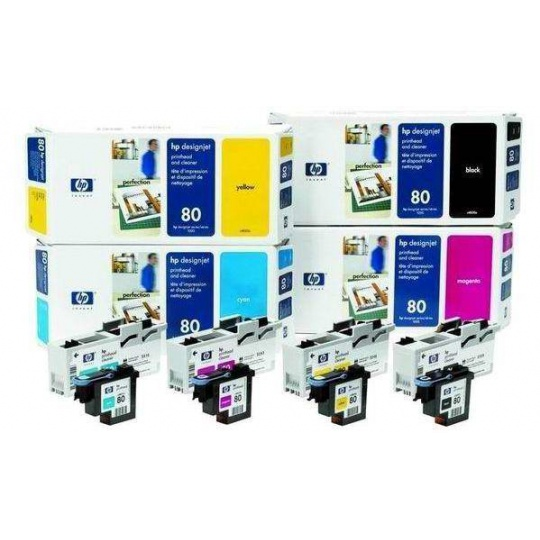 HP 80 Black Printhead + Printhead Cleaner, C4820A