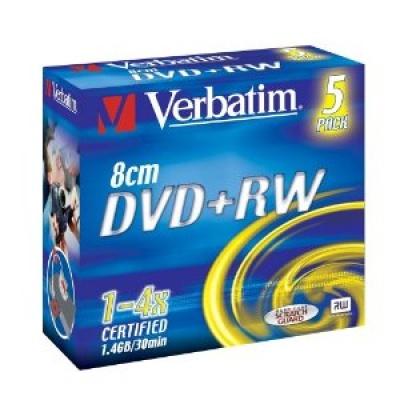 VERBATIM DVD+RW(5-Pack)8cm/Jewel/4x//1.4GB