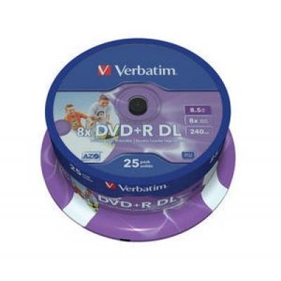 VERBATIM DVD+R(25-pack)/Spindle Double Layer 8X 8.5GB Inkjet Printable