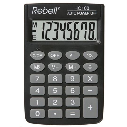 REBELL kalkulačka - HC108 - černá