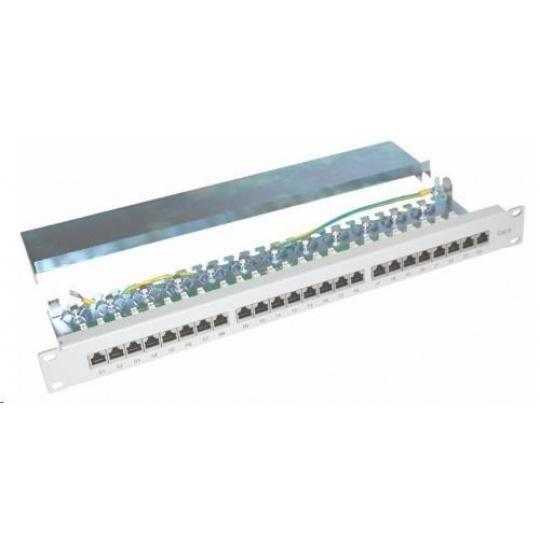 """19"""" Patch panel XtendLan 24port, STP, Cat6, 30µm, duální svorkovnice, šedý"""