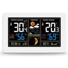 Solight TE81W meteostanice, extra velký barevný LCD, teplota, vlhkost, tlak, RCC, USB nabíjení, bílá