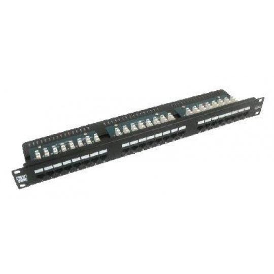 """19"""" Patch panel LYNX 24port, STP, Cat6, 30µm, duální svorkovnice, černý"""