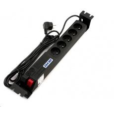 """19"""" rozvodný panel ACAR 5x230V, ČSN, kabel 3m, přepěťová ochrana, vč. montážních držáků do racku"""