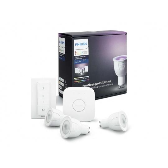 PHILIPS Hue Startovací KIT, White and Color Ambience( 3x žárovka 6,5W GU10  DIM + bridge + 1x ovladač se stmíváním )