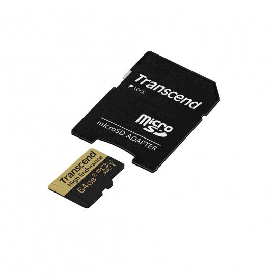 TRANSCEND MicroSDHC karta 64GB Video Recording, U1 + adaptér