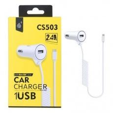 PLUS nabíječka do auta CS503, konektor micro USB, vstup USB 2,4 A, bílá