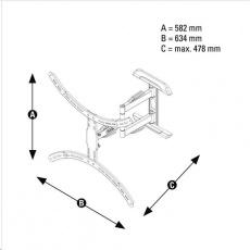 Hama nástenný držiak TV, pohyblivý, 400x400, 1*, čierny