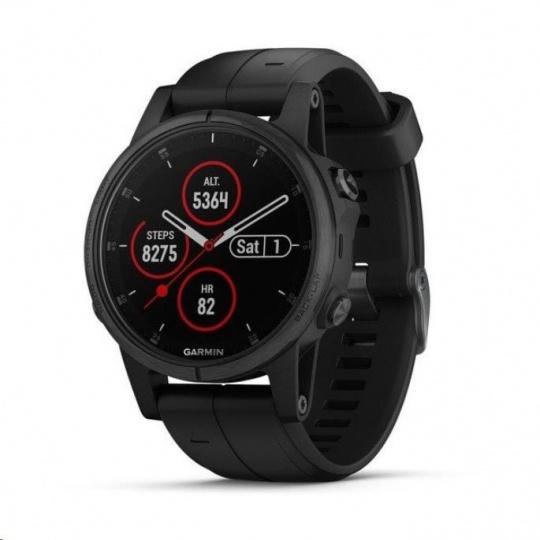 Garmin GPS sportovní hodinky fenix5S Plus Sapphire Black, černý řemínek