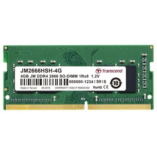 SODIMM DDR4 4GB 2666MHz TRANSCEND 1Rx8 512Mx8 CL19 1.2V