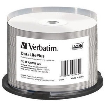 VERBATIM CD-R(50-pack) spindl, AZO 52X,700MB,WHITE WIDE PRINTABLE SURFACE NON-ID