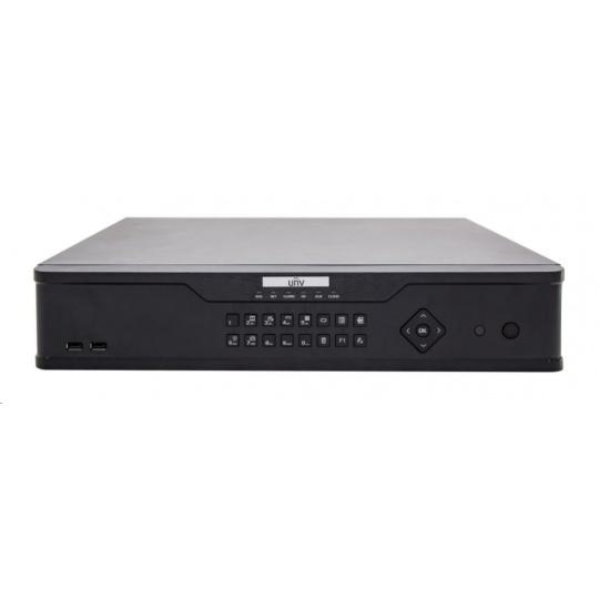 Uniview NVR, 32 kanálů (16xPoE max.200W), H.265,4xHDD, 12Mpix (320/320Mbps),HDMI 8Mpix + 1*HDMI+VGA Full HD, 3xUSB,audio