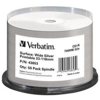 VERBATIM CD-R(50-pack)spindl AZO 52X 700MB WIDE SILVER INKJET PRINTABLE NON ID